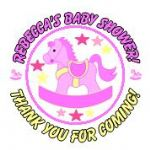 Personalised Pink Rocking Horse Baby Shower Party Stickers